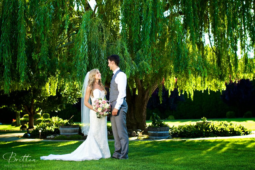 Bride and groom posed under a willow tree at Promise Garden